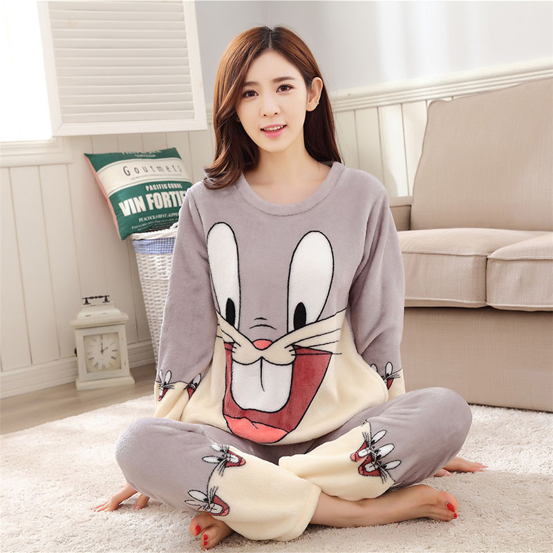 Women Pajamas Set For Autumn cute cartoon pink Women Clothes Sleepwear Nightgown For Women Long Sleeve And Pants Hot Sale pijama 50
