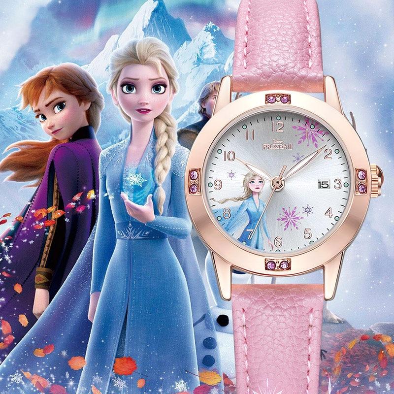 2020 Frozen Ⅱ Disney Princess Elsa Beautiful Girl Bling Luxury Crustal Quartz Watch Female Leather Watches Fashion Child Clocks