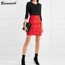 цена на Bevenccel Women's Skirt 2020 New Designer Elegant Metal Buttons Double Breasted Bodycon Mini Skirt Pockets Tassel Faldas Skirts
