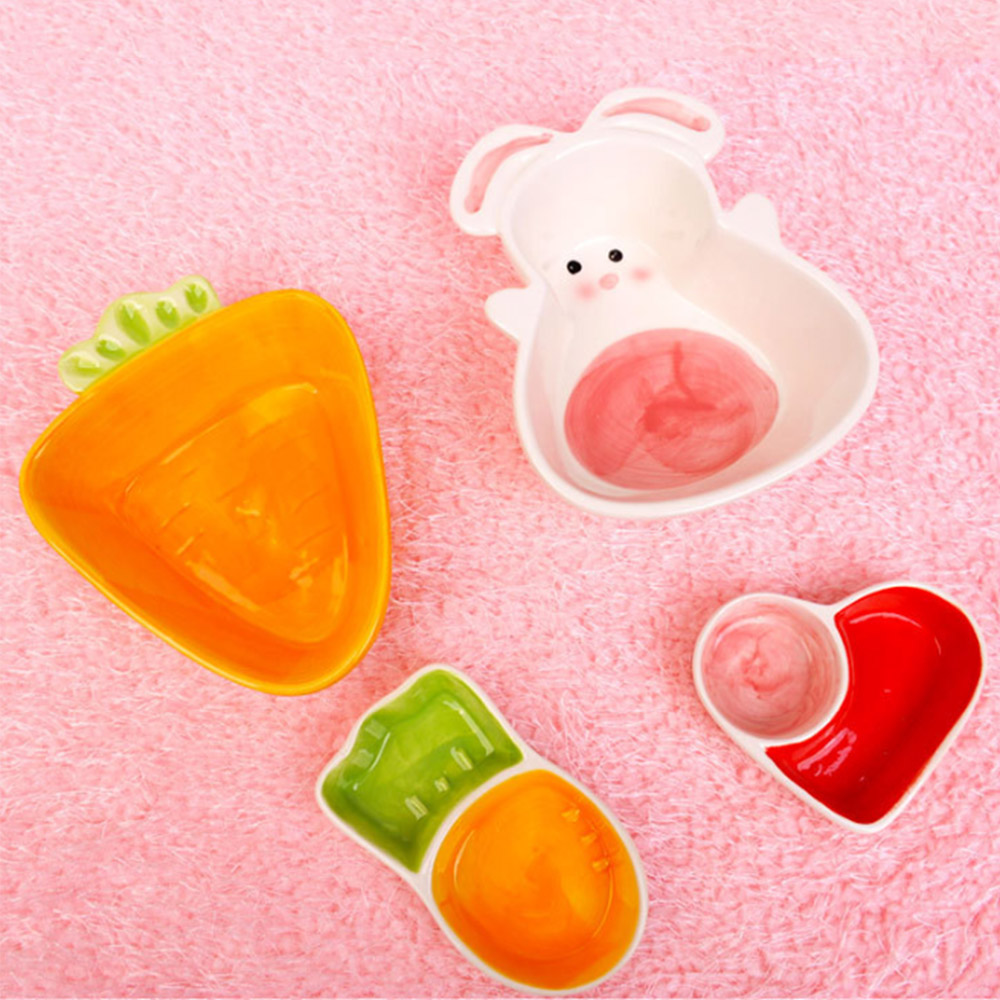 Food Water Feeding Bowls Cartoon Carrot Rabbit Shape Ceramic Bowl For Small Animals Hamster Pet Feeding Supplies