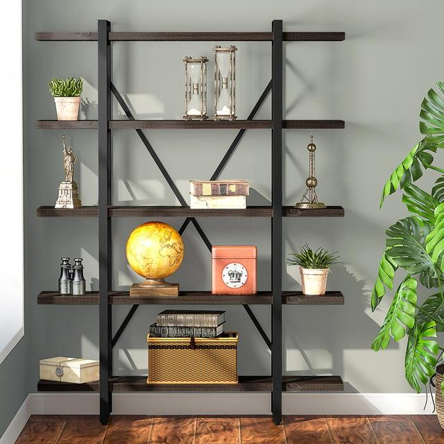 5-tier Industrial Style X Shaped Bookcase 2