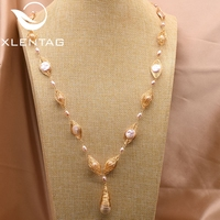 XlentAg Fresh Water Pearls Long Custom Necklace For Women Friends Girls Party Vintage Luxury Jewelry Designer Joyas Mujer GN0084