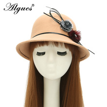 Spring and Autumn New Style Double Furry Ball Plus Diamond Bowler Hat Women's Wool-like Fabric Bucket Hat Casual Dome Felt Hat britain fuzzy ball embellished felt horseman hat