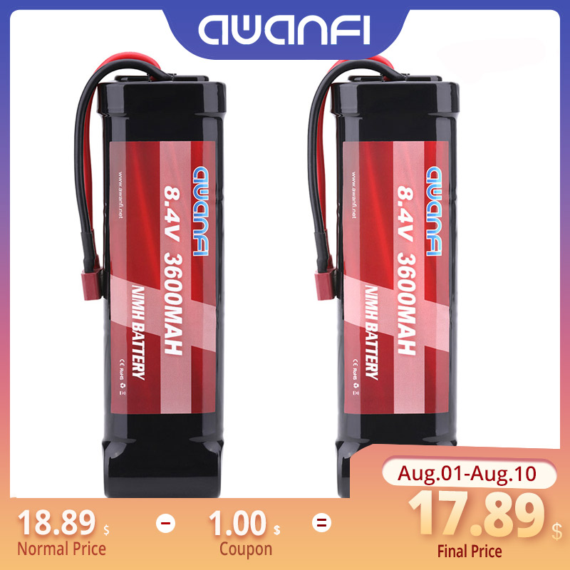 AWANFI 8.4V 3600mAh 5Cell NiMH Flat Pack Battery with Deans Plug for 1/10 Scale RC Car Truck Boat Traxxas LOSI HPI Kyosho Tamiya image
