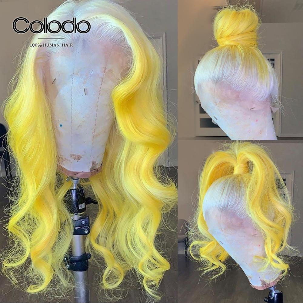 COLODO 613 Yellow Ombre Human Hair Wig Brazilian Remy Pink Blue Loose Wave Wig Pre Plucked Transparent Lace Wigs For Women