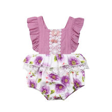 New Toddler Baby Girl Sleeveless Clothes Ruffle Floral Lace Bodysuit Jumpsuit Overall Fashion Outfit Baby Girl Clothes
