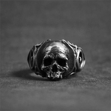 Unique Gothic Tooth Fairy Skull Rings Mens Silver 316L Stainless Steel Biker Ring Punk Rock Jewelry wholesale high quality mens punk 316l stainless steel pentagram star rings for men biker finger rings rock jewelry us size 9 12