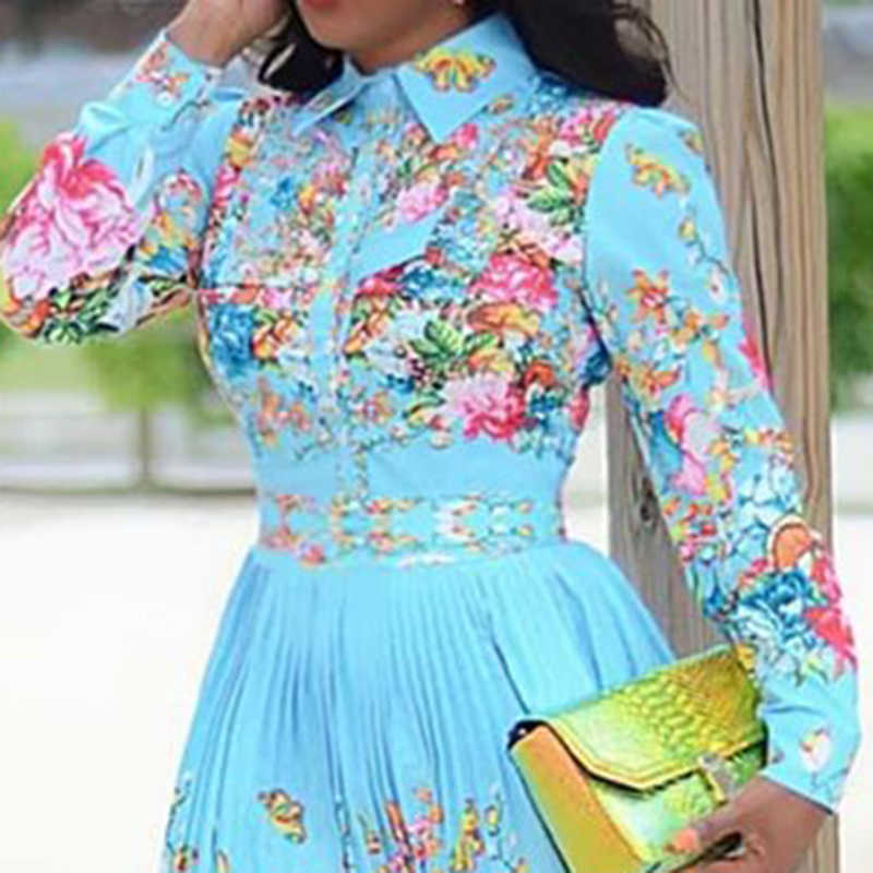 Otoño mujer plisado Floral Midi vestido elegante 2019 manga larga azul Boho imprimir moda de talla grande africano cena vestidos casuales