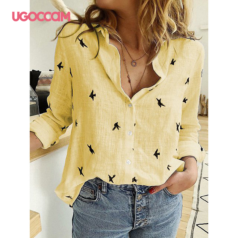 Hda6f1402ccb646f593ab850179481222L - UGOCCAM Women Blouse Long Sleeve Blouse Shirt Print Office Turn-down Collar Blouse Elegant Work Plus Size Tops Fashion Women Top
