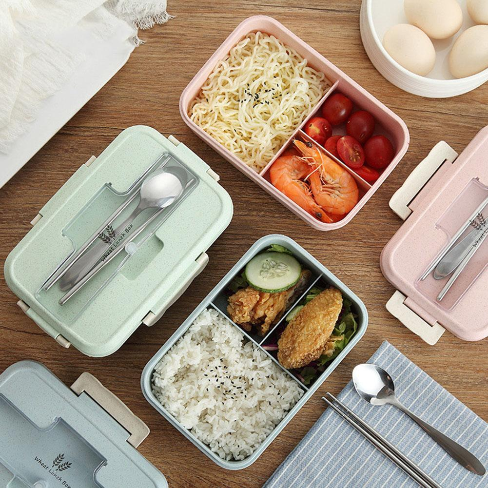 Microwave Bento Lunch Box Travel Camping Food Containers with Spoon Chopsticks
