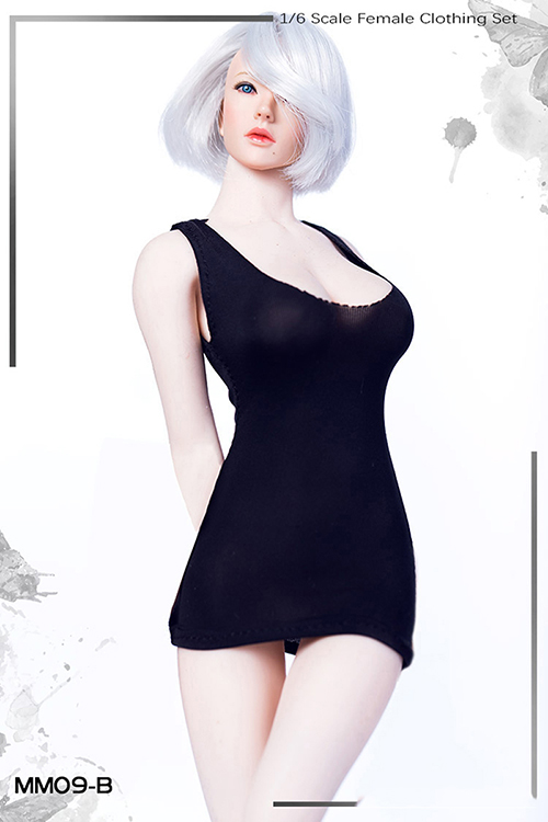 1/6 <font><b>Sexy</b></font> Female Clothes Set <font><b>2b</b></font> Low-cut U Collar Mini Short Dress Girl's Bottoming Shirt Clothing Without Shoes for 12'' Action image