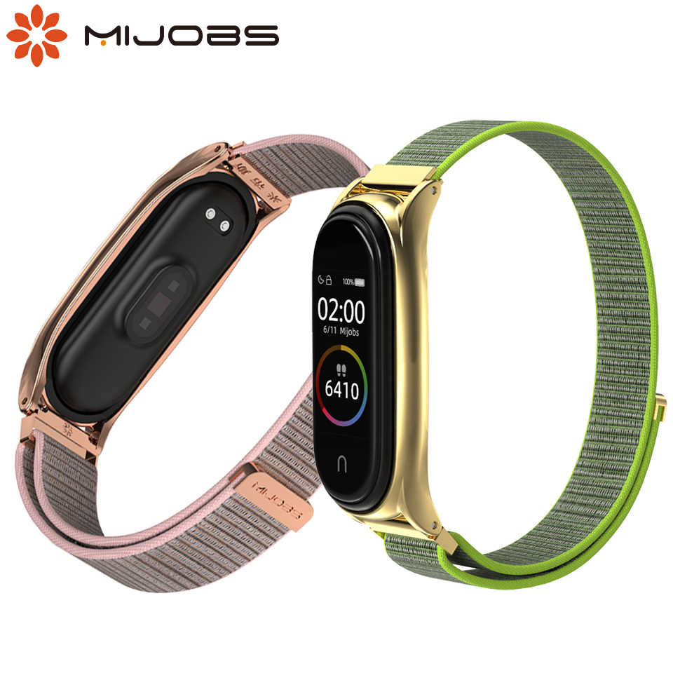 Nylon Strap For Xiaomi Mi Band 4 3 Smart Watch Wristbands For Mi Band 4 NFC Tape Loop Wrist Bracelet For Miband 3/4