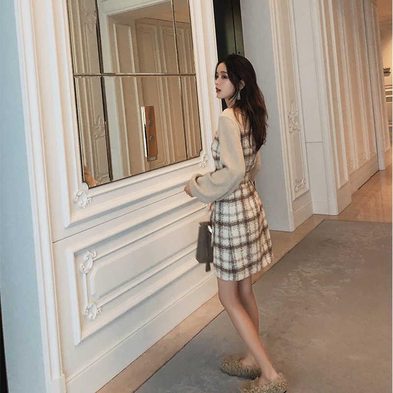 Mishow Herfst Winter Vintage Jurk Voor Vrouwen 2019 Slim Fit Met Riem Plaid Lantaarn Mouw Temperament Lady Korte Jurk MX18D1495
