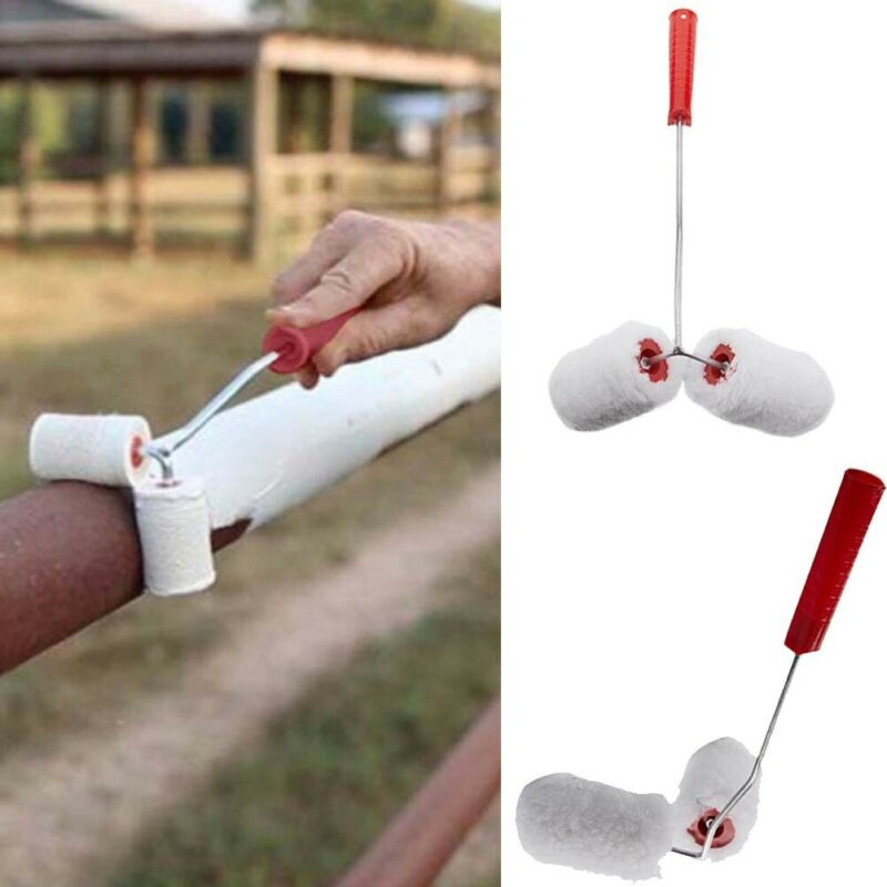 New Dual Paint Roller Fence Poles Tubes Stair Rail Corners Painting Roller Tools