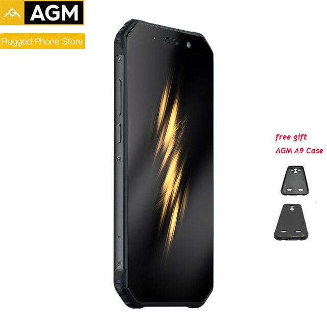 "Orijinal AGM A9 4G RAM 64G + kılıf hediye ROM 5.99 ""Android 8.1 5400mAh IP68 su geçirmez sağlam telefon dört kutusu hoparlörler NFC"