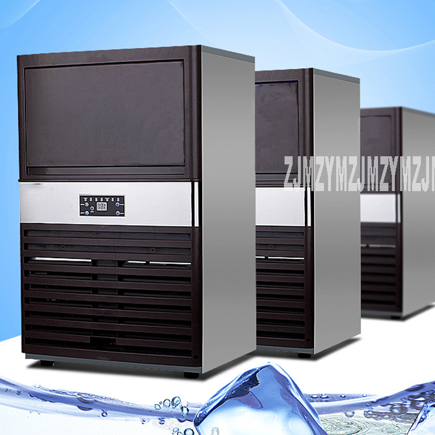 Commercial Ice Machine Tea Shop Small Square Ice Machine Intelligent Fast  Ice Making Automatic 80KG 220V/110V 330W SK-70FA