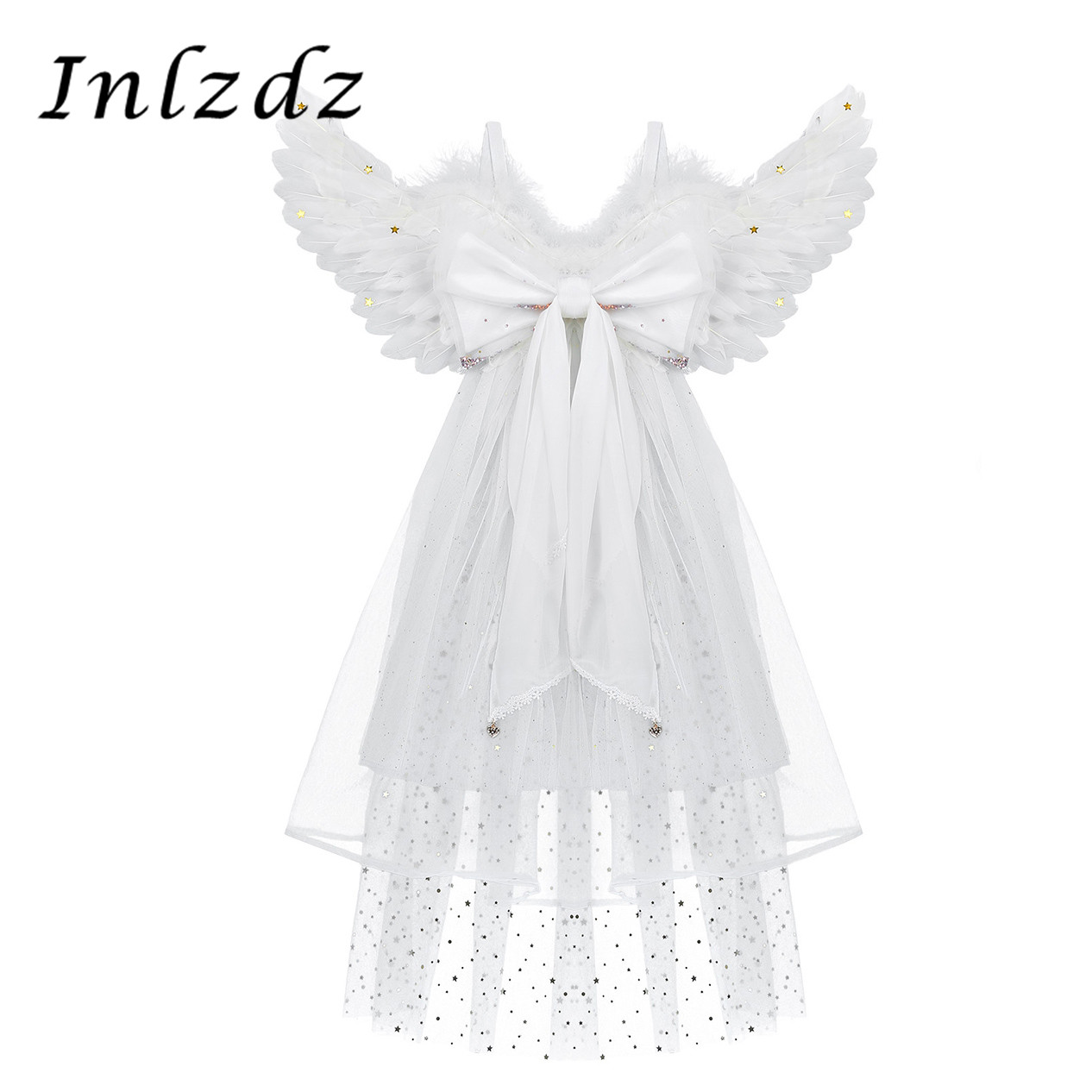Kids Girsl Feather Angel Wings With Three Layered Tulle For Dance Party Cosplay Costume Masquerade Carnival Holiday Fancy Dress