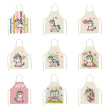 Kitchen Apron Sleeveless Unicorn Linen Printed Home-Cleaning-Tools Parent-Child Cotton
