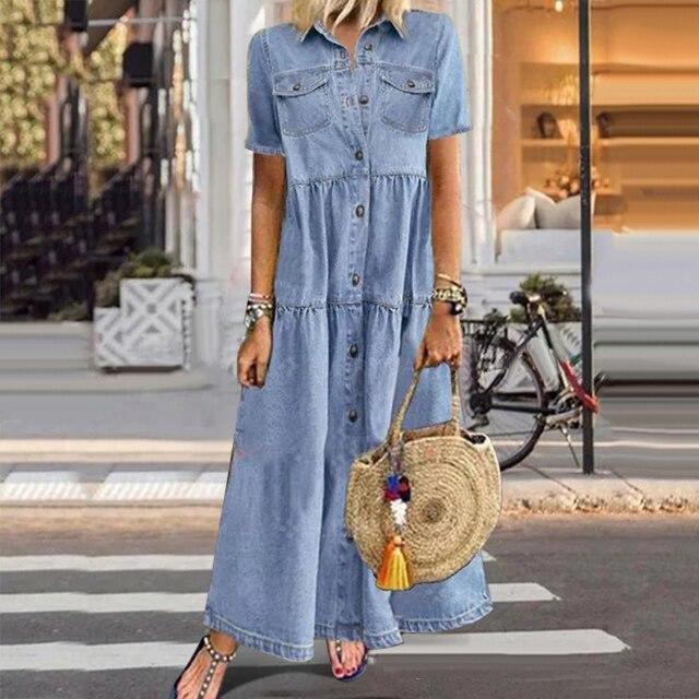 Denim Dress Retro Women Short Sleeve Turn Down Collar Pockets Button Long Loose Denim Dress Pockets Button Long Loose Plus size 4