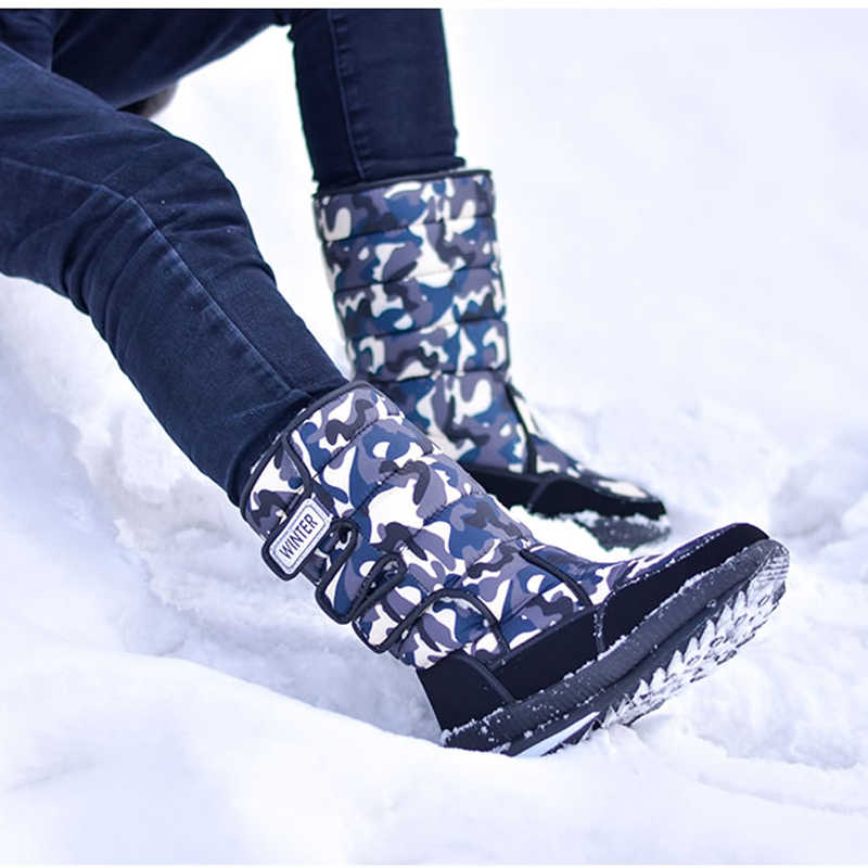 Men Snow Boots Platform Men Boots Fur Warm Waterproof Winter Boots Military Mid-calf Boots Male Winter Shoes Plus Size 46 47