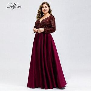 Image 5 - Fashion Plus Size Women Dress Sequined Deep V Neck Full Sleeve Elegant Navy Blue Stain Maxi Party Dress Vestidos De Festa 2020