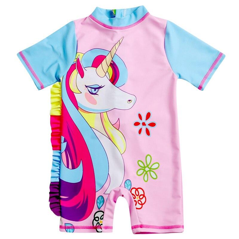 New Style KID'S Swimwear Girls Cute Cartoon Unicorn Children Baby Girls One-piece CHILDREN'S Swimsuit