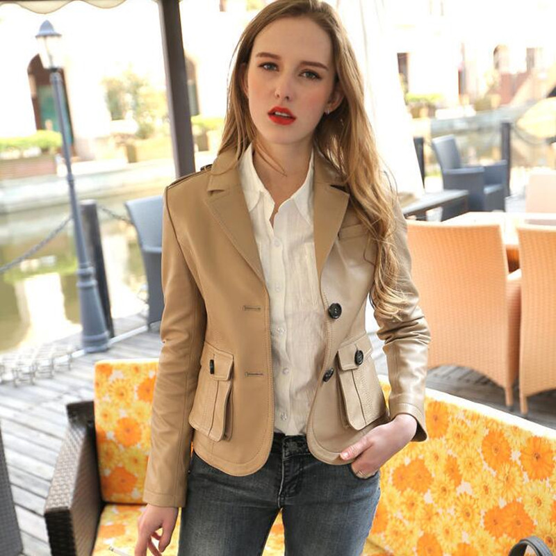 Genuine Leather Jacket Women Vintage Retro 100% Real Sheepskin Slim Fit Fashion Soft Sheep Skin Blazer Coat Jaqueta De Couro