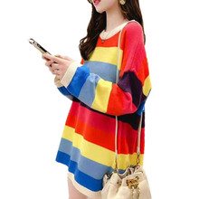 Buy Autumn and winter new maternity dress rainbow striped round neck loose pregnant sweater sweater directly from merchant!
