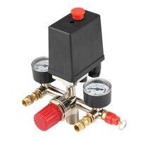 Einstellbare Druck Schalter Luft Kompressor Schalter Druck Regulierung Mit 2 Presse Messgeräte Ventil Control Set-in Druckmessgeräte aus Werkzeug bei