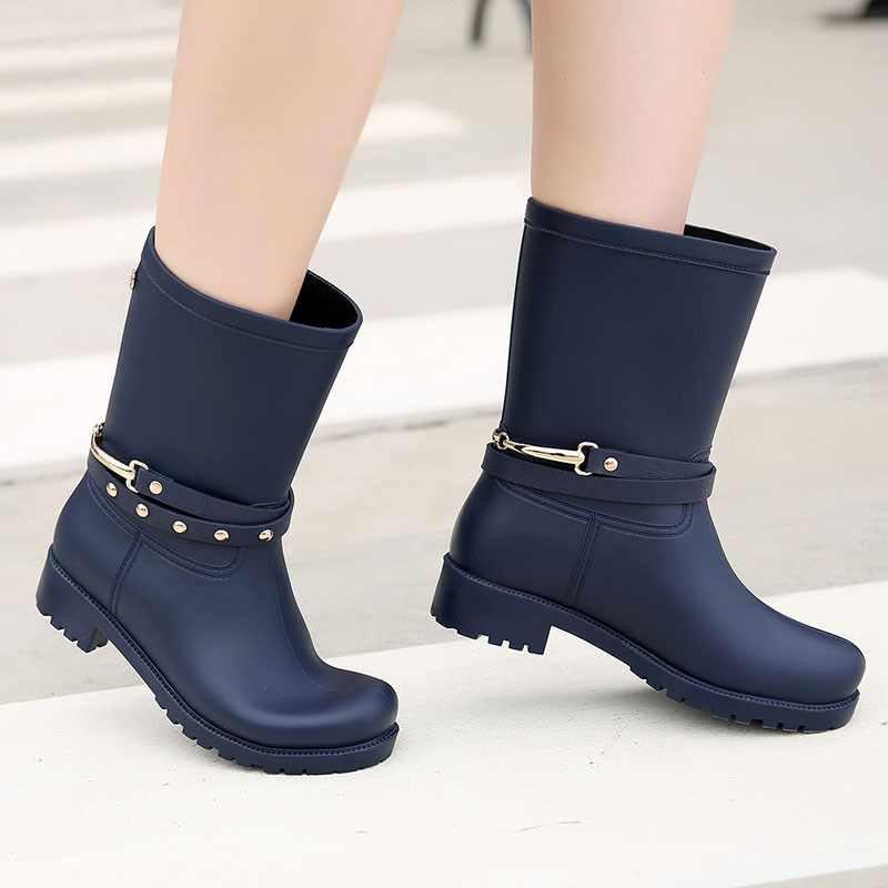 รองเท้าสตรี Wading รองเท้า PVC Gumboots ผู้หญิง Wellies หญิงแฟชั่น Galoshes Rainboots ผู้หญิง Regenstiefel Snow BOOTS