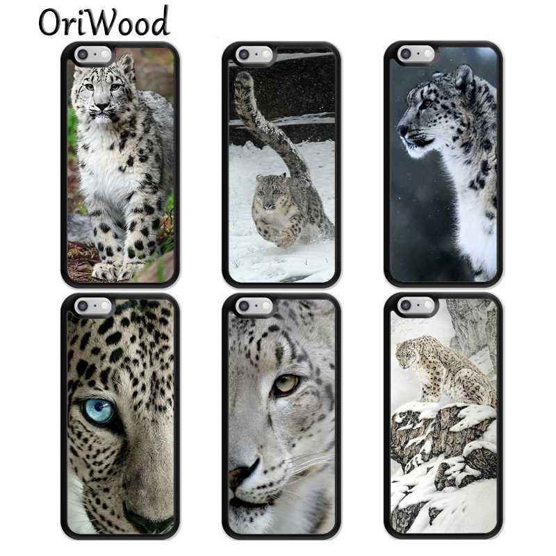 OriWood Snow Leopard Tiger Rubber Phone Case Para iPhone 6 6S 7 8 Plus 5S SE Casos Para iPhone X XS Max XR Fundas Coque