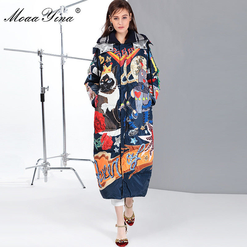 MoaaYina Luxury Runway Cartoon Print Long White Duck Down Jackets Coat Women Fashion Long Sleeve Winter Down Jacket Outwear
