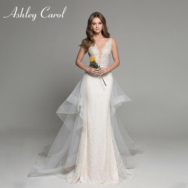 Ashley Carol Mermaid Wedding Dresses 2020 Sexy V neckline Lace Luxury Beaded Detachable Train Bride Dress Romantic Bridal Gowns
