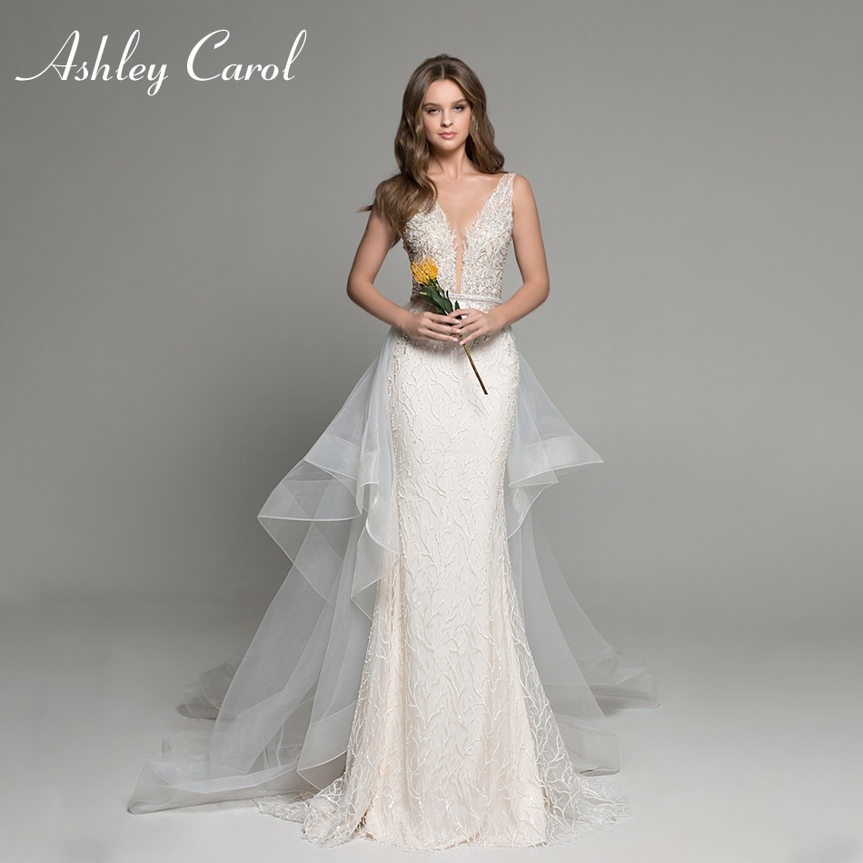 Ashley Carol Sexy V-neckline Lace Mermaid Wedding Dresses 2020 Luxury Beaded Detachable Train Bride Dress Romantic Wedding Gowns