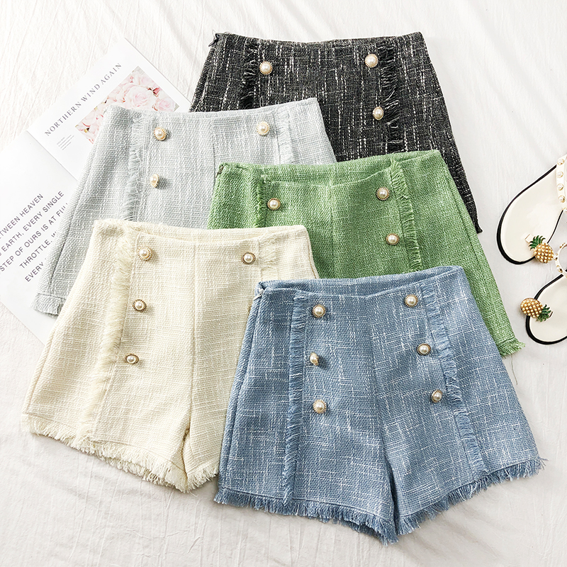 Tassels Wide-legged Shorts Autumn Women Fashion Empire Double-Breasted Tweed Shorts Girls A-line Shorts Bottoms