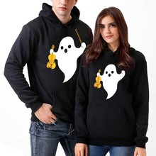 Unisex Couples Sweatshirt Women Jackets Spring Autumn Men 3D Halloween Ghost Print Hooded Jackets Blouse Outwear halloween cartoon ghost print sweatshirt