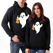 Unisex Couples Sweatshirt Women Jackets Spring Autumn Men 3D Halloween Ghost Print Hooded Blouse Outwear