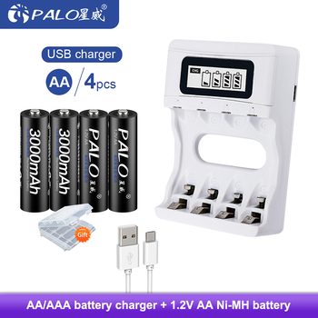 PALO 1.2V AA Rechargeable Battery Smart Battery Charger 3000mAh NI-MH AA Rechargeable batteries palo 2 24 pcs rechargeable aa 2a battery 1 2v 3000mah aa 2a nimh original high capacity current batteries battery aa batteries
