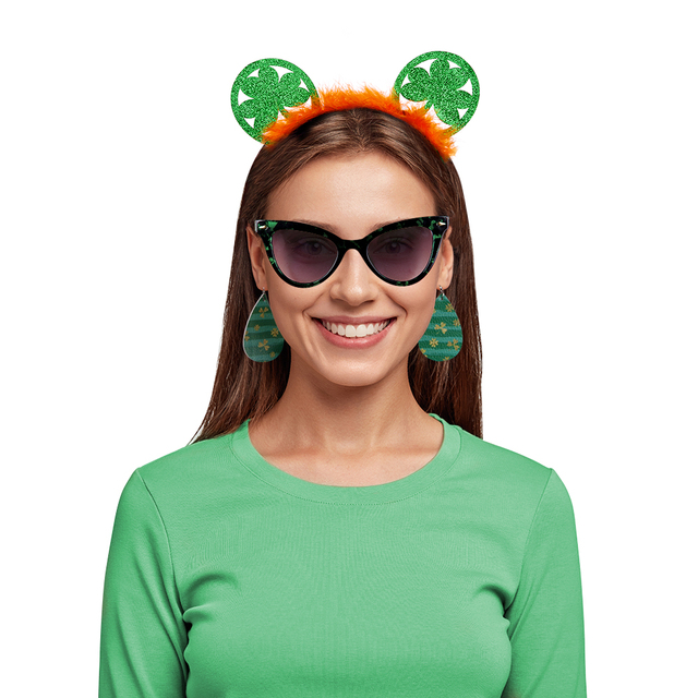 Saint Patrick Clover Headband Carnival Irish Green Hat Day Crown Hair Bands for Men Women Girls Cute St Paddy Party Accessories