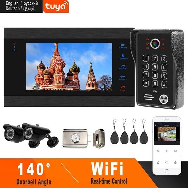 HomeFong Wifi الباب الداخلي فيديو لاسلكية الاتصال الداخلي مع قفل إلكتروني كاميرا تلفزيونات الدوائر المغلقة المنزل نظام مراقبة الدخول التحكم بواسطة الهاتف