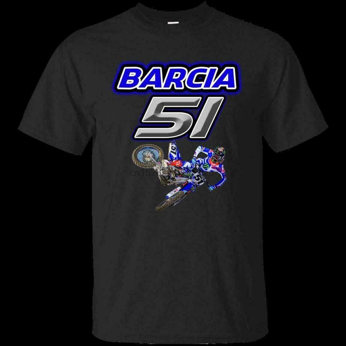 เสื้อยืดบุรุษ Mens Motocross และ Supercross Justin 51 Barcia BAM สีดำขนาด M-3xl