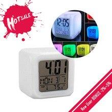 Cube Led Klok Led Wekker 7 Kleuren Veranderen Digitale Bureau Gadget Thermometer Night Glowing Horloge Voor Geschenken Home Decor TSLM1