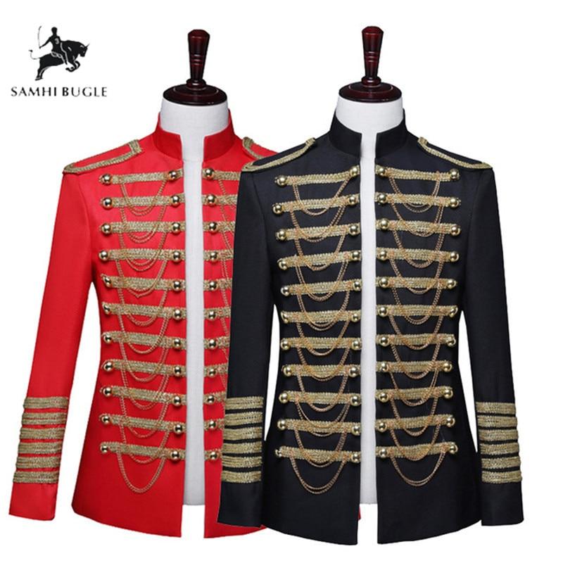 Men's Military Uniform Nightclub DJ Black Red Inlaid Metal Chain Blazer Masculino Slim Fit Men Suit Jacket Stage Singer Costume