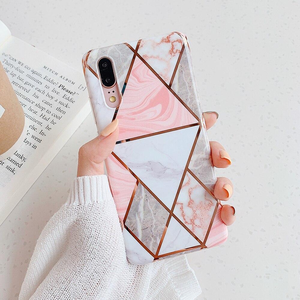 Funda de telefono con revestimiento geometrico de marmol para Huawei P40 Pro P30 P20 Lite Pro funda trasera suave brillante