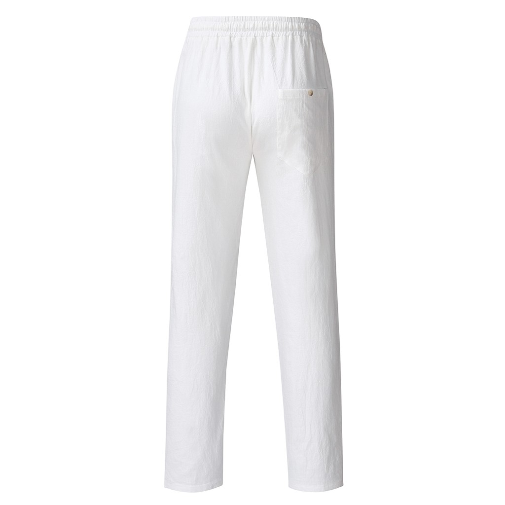 Hda71bf5b3657421180ab97e022296ff4o Feitong Fashion Cotton Linen Pants Men Casual Work Solid White Elastic Waist Streetwear Long Pants Trousers