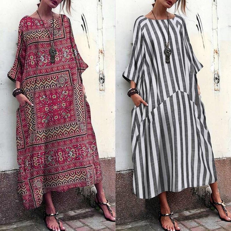 Summer Maxi Dress Women's Striped Sunddress 2019 ZANZEA Bohemian 3/4 Sleeve Baggy Vestido Female O Neck Patchwork Robe Plus Size