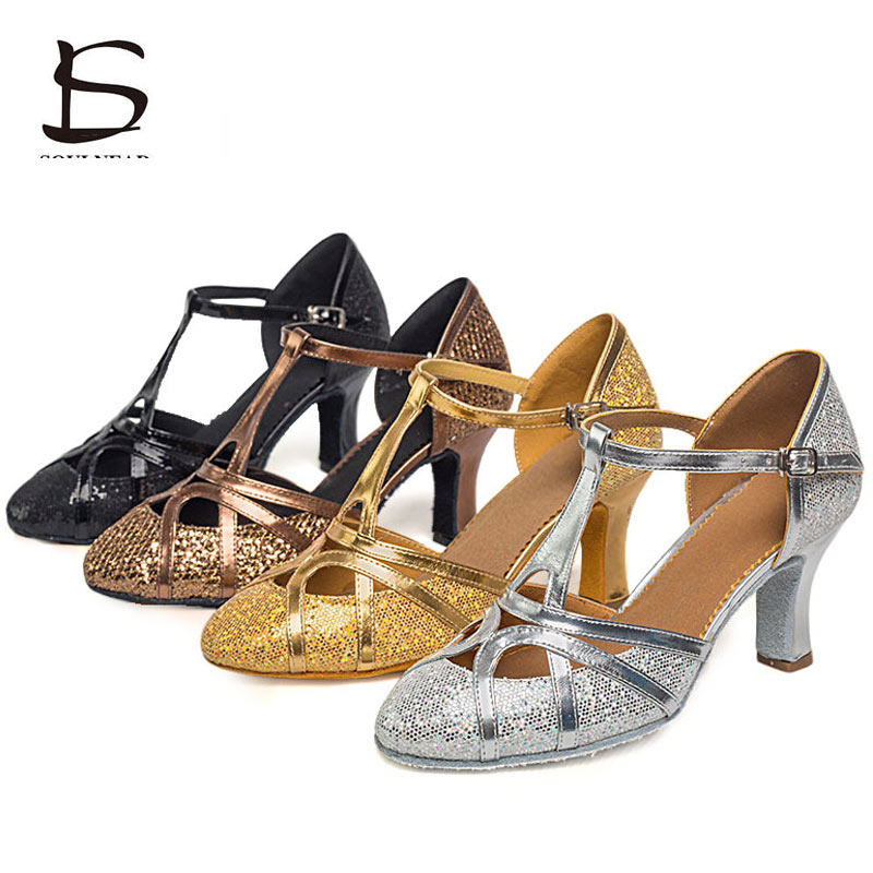 Salsa Dance Shoes Women Latin Dance Shoes Glitter Closed Toe High Heels 5cm 7cm Ballroom Tango Dancing Shoes Woman Sandals
