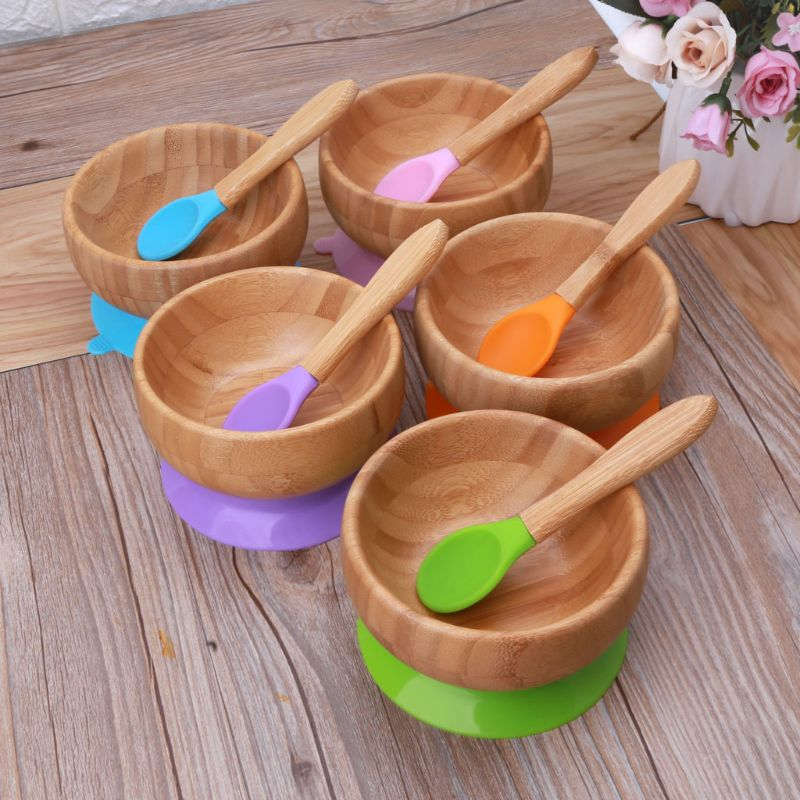 Baby Feeding Bowl And Spoon Set Natural Bamboo Bowl With Suction Cup Kid Children Baby Dining Plate Tableware