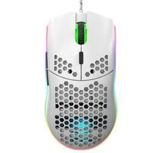 1 sztuk oryginalny J900 RGB nowa lekka przewodowa mysz Hollow-out Gaming Mouce myszy 6400 DPI regulowany 6 przycisków myszy