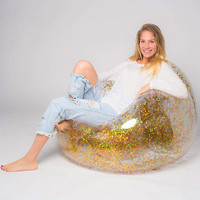 Transparent Inflatable Sofa PVC Lazy Bag Air Sleeping Bag Outdoor Camping Portable Air Beach Bed Rose Gold Glitter recliner
